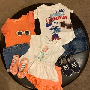 3 Little Girl Outfits (tops/shorts/shoes/glasses)